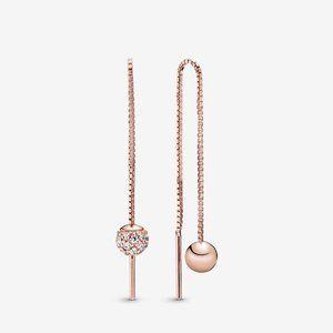✨Pandora Rose Polished & Pav¨¦ Bead Dangle Earring
